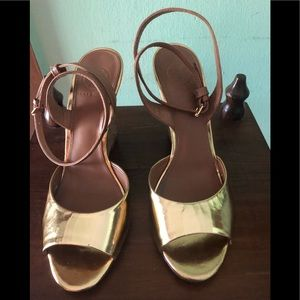 "New ""Tory Burch"" Gold Wedge w/T Symbol on Heels"